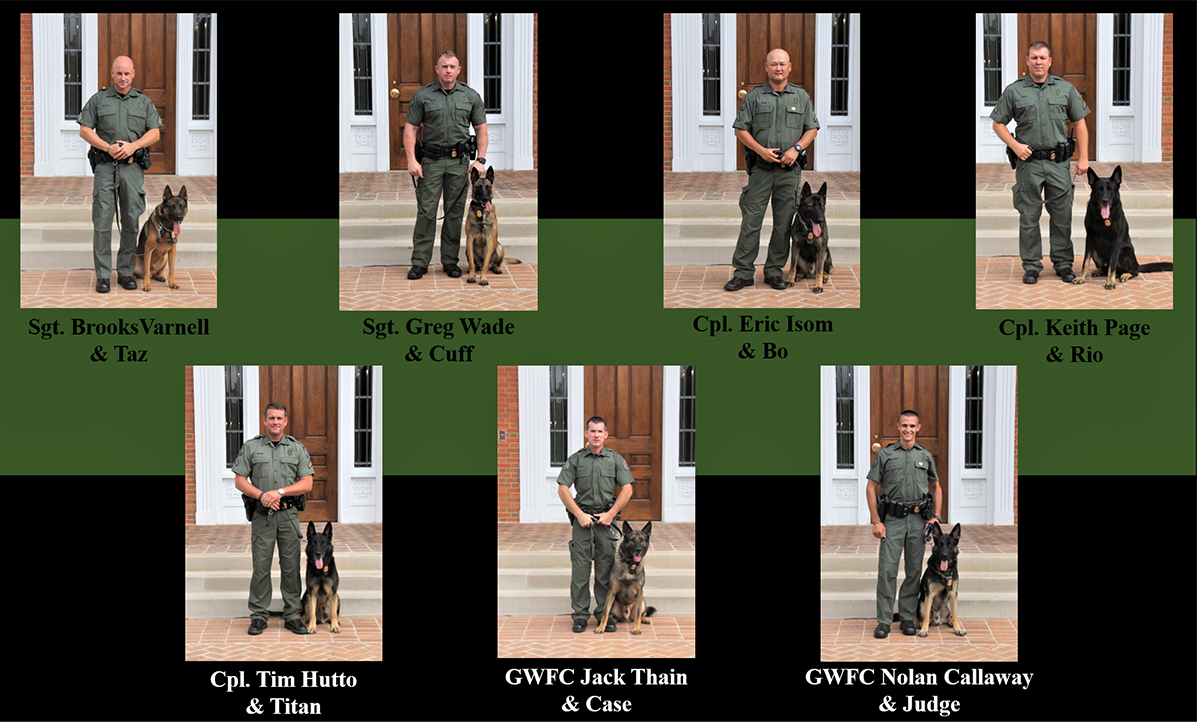 Current K-9s and handlers