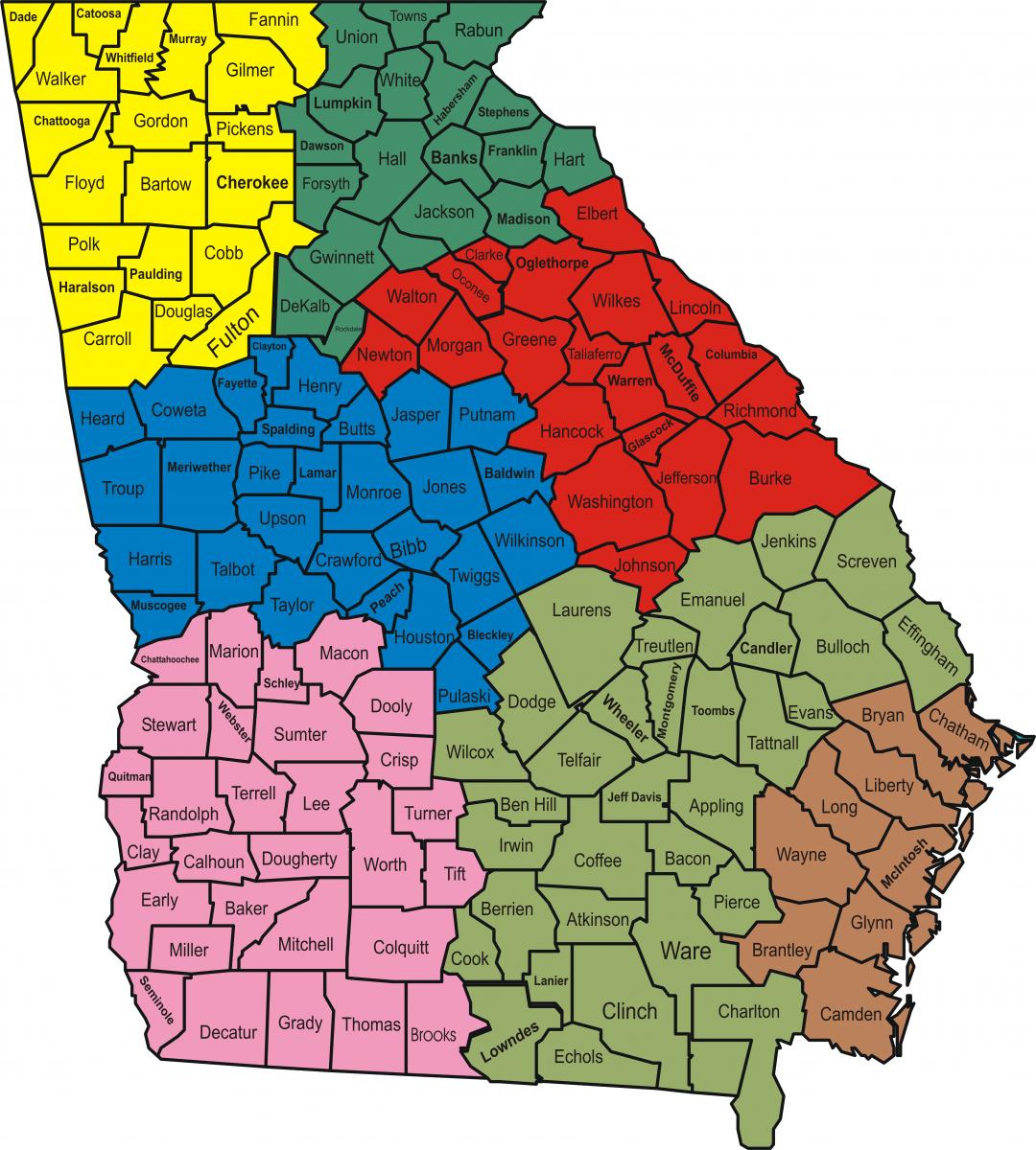 Map Of Georgia 1700.Law Enforcement Region Offices