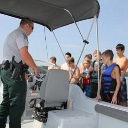 Imager of a Ranger conducting boat education